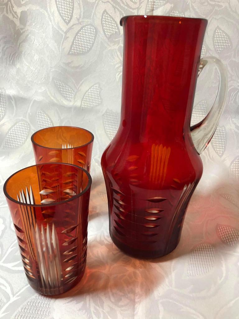 Графин Zbkowice + 2 стакана. Рубин