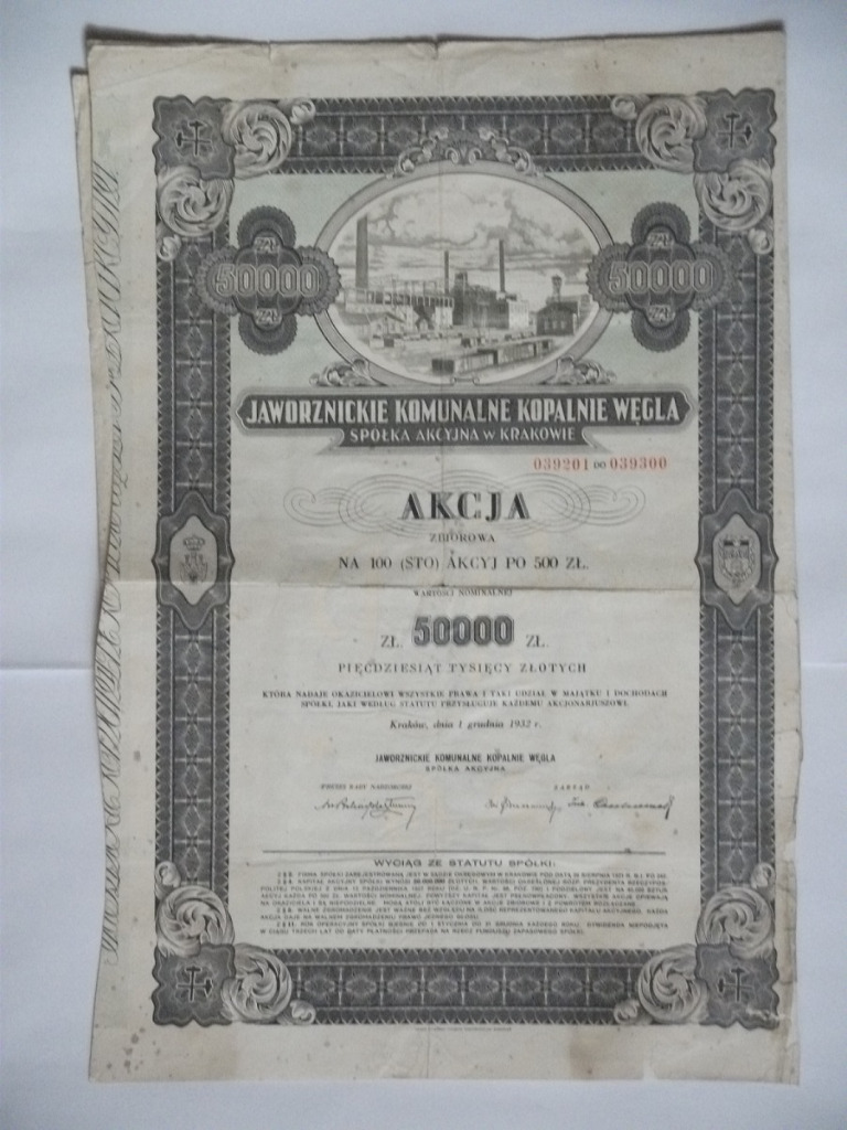 JAWORZNICKIE COM. КОП. COAL SA 50,000 PLN-100 АКЦИЙ