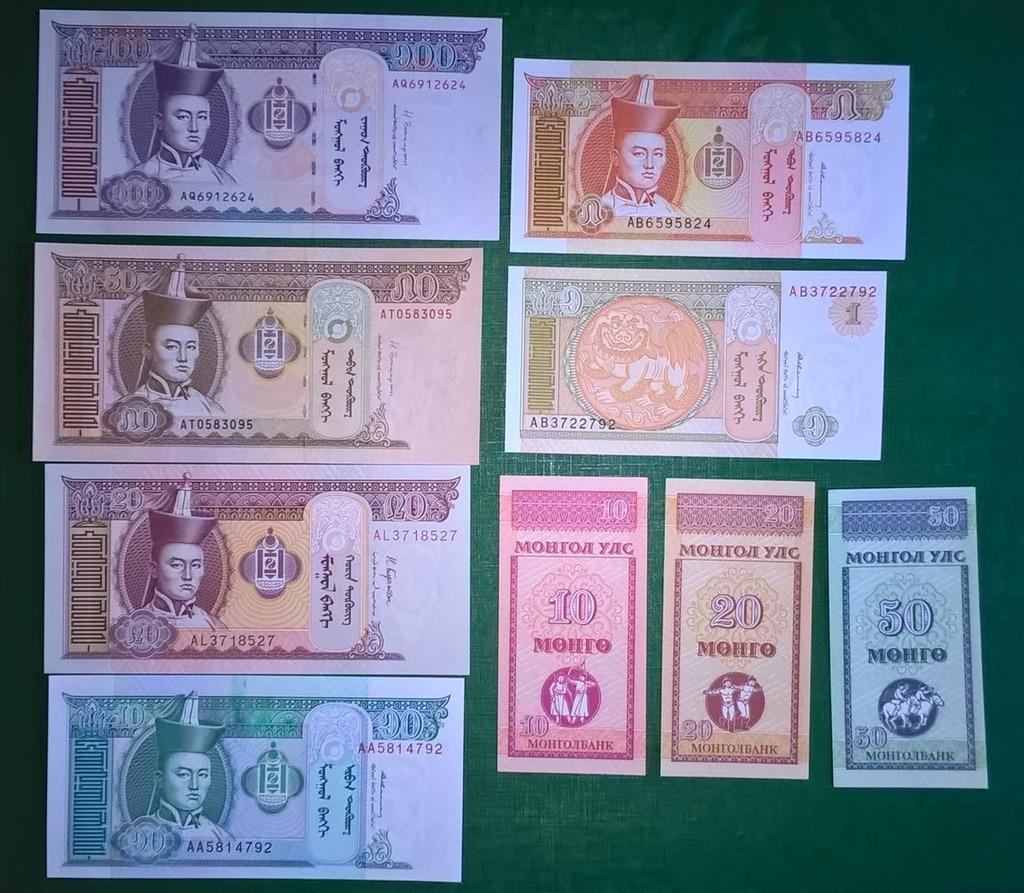 BANKNOTY MONGOLIA 9 SZTUK, STAN BANKOWY UNC