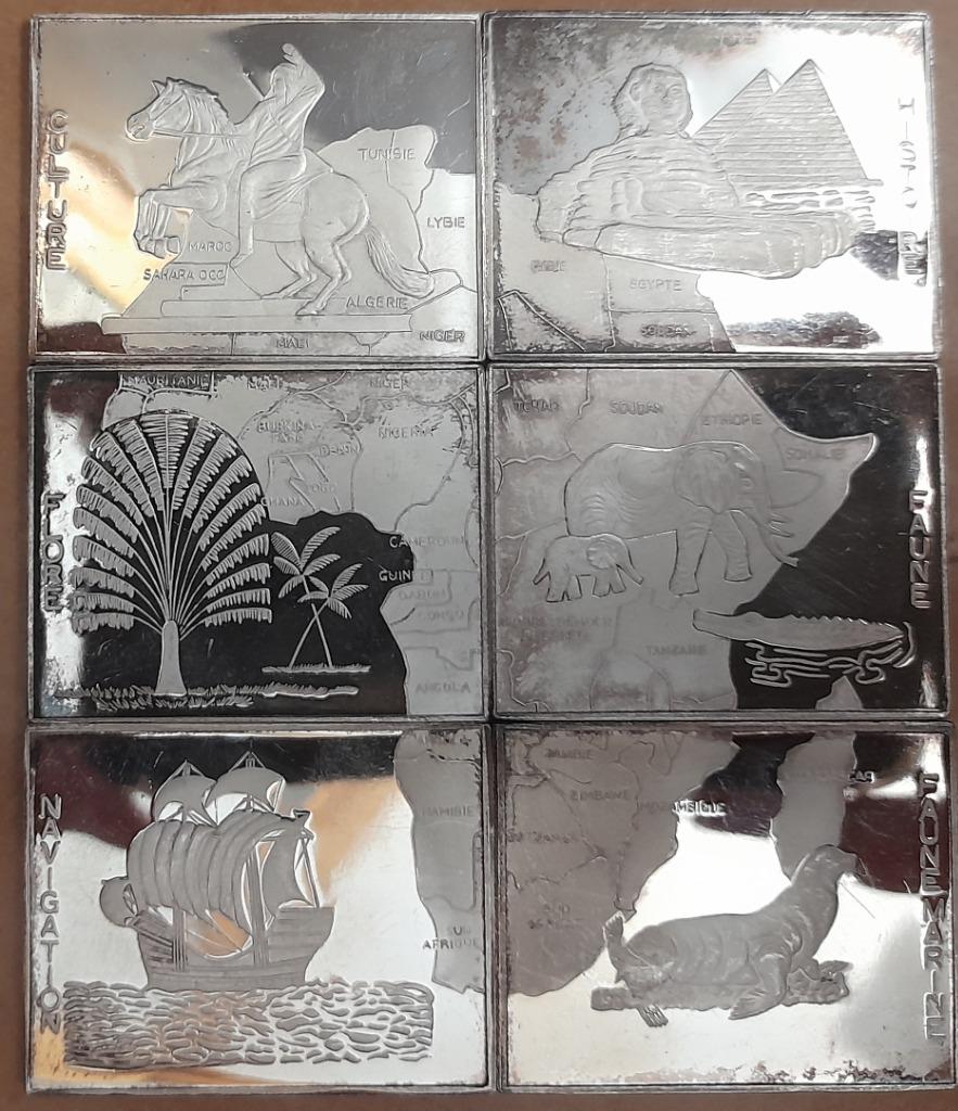 Sześć srebrnych monet, 6x 1000 franków, Rep. Kongo