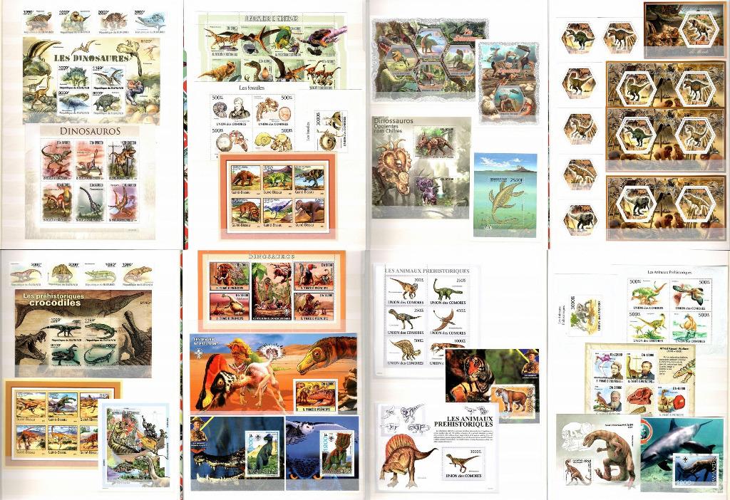 Znaczki DINOZAURY Fauna prehistor. + klaser #CL27