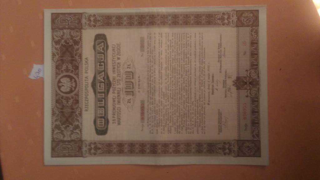 Купить Залог 3% на 100 злотых IN ZŁOT, Варшава, 1935 г. на Otpravka - цены и фото - доставка из Польши и стран Европы в Украину.