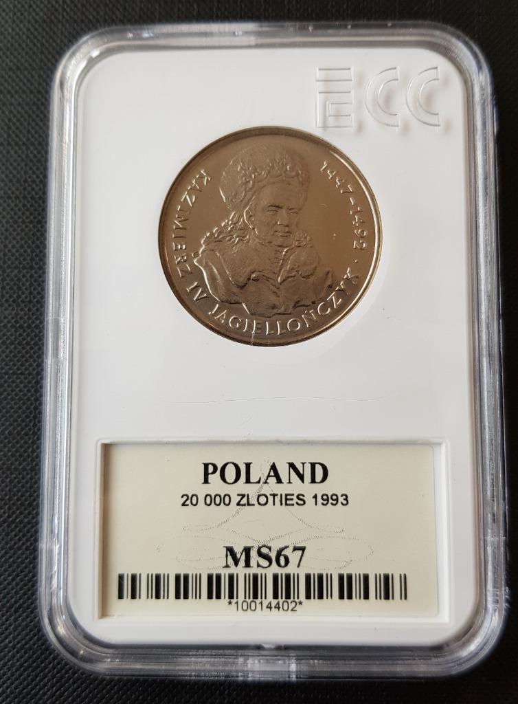 20 000 злотых 1993 Казимеж Ягеллончик GCN MS 67