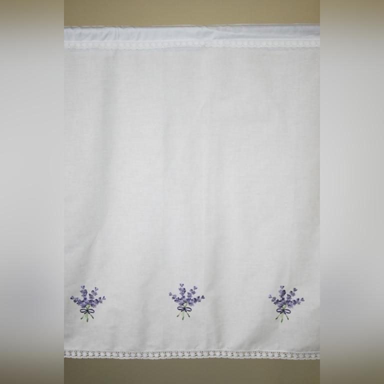Заздростка штора 70х200 белая вышивка Лаванда