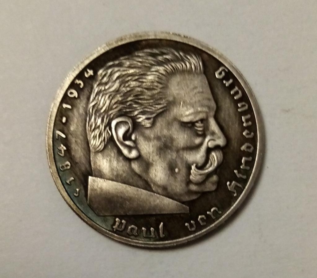 Moneta 5 marek 1938 Hindenburg III Rzesza