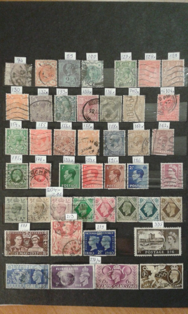 Wielka Brytania. Zestaw znaczków kasowanych.