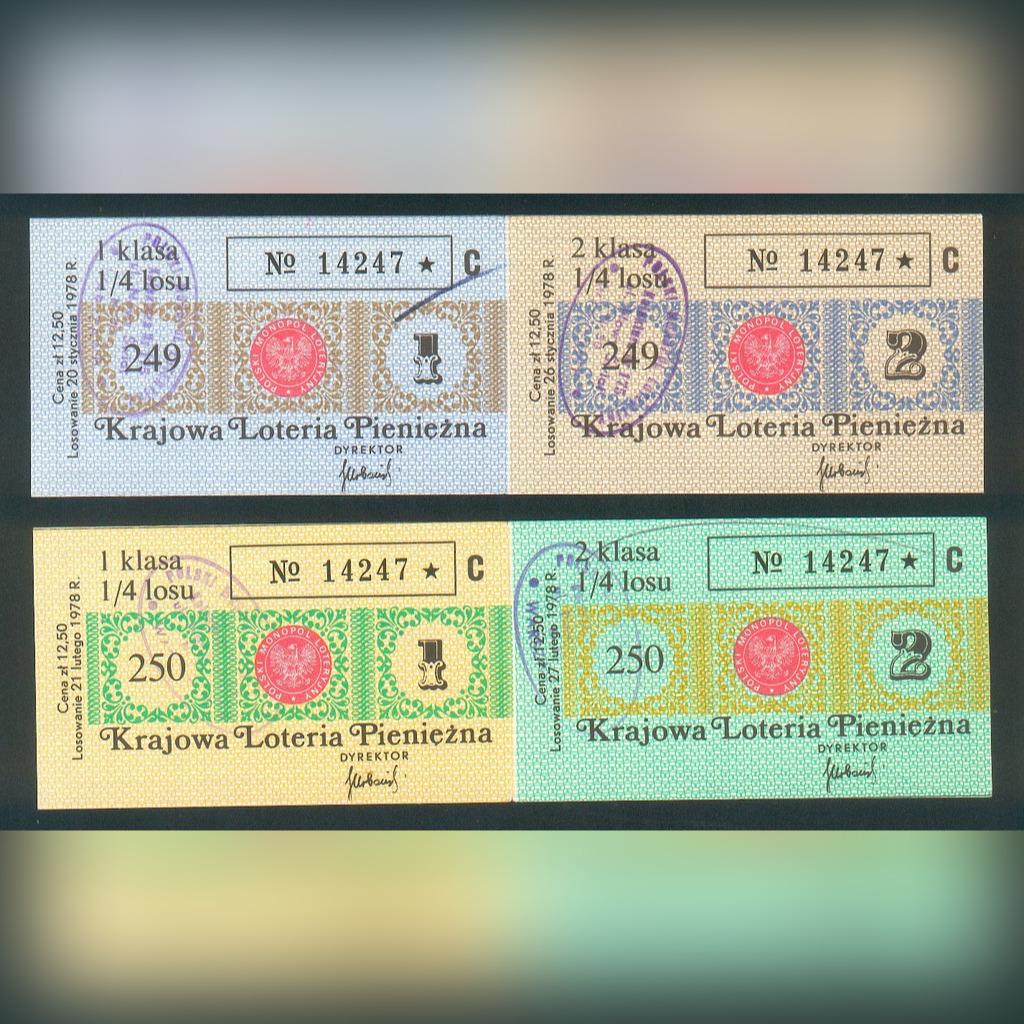 4 Losy nr 249-50 Krajowa Loteria Pieniężna - 1978r