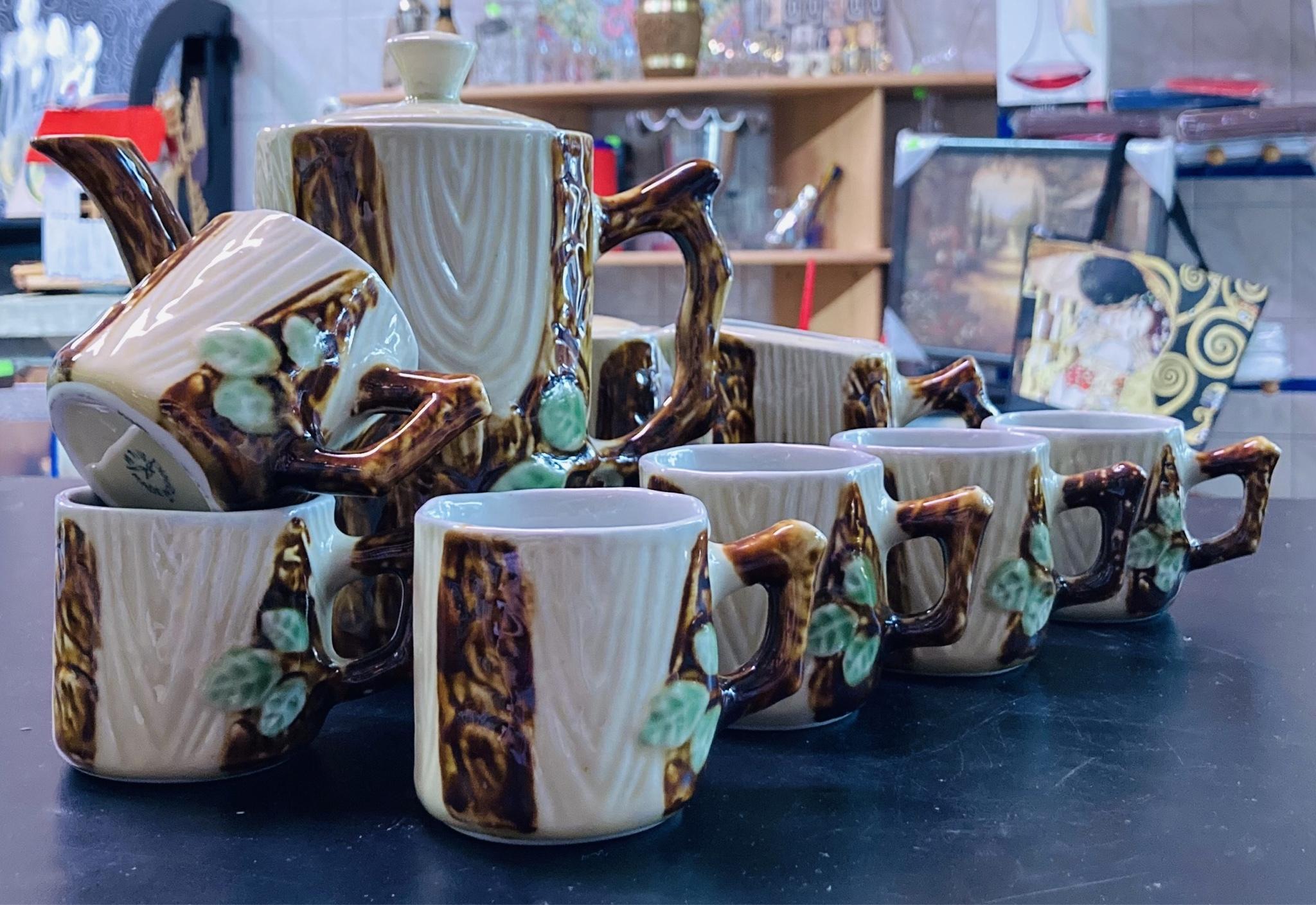 Serwis kawowy D.P.R.K. kora drzewa. 6 osób