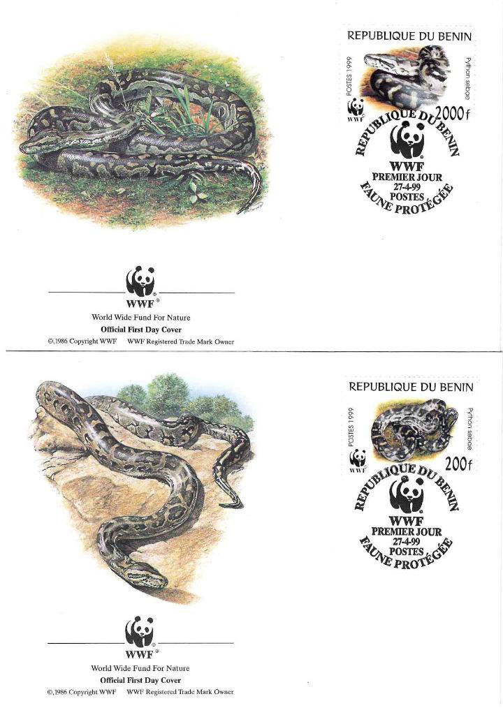 Zestaw 4 kopert WWF Benin nr 61