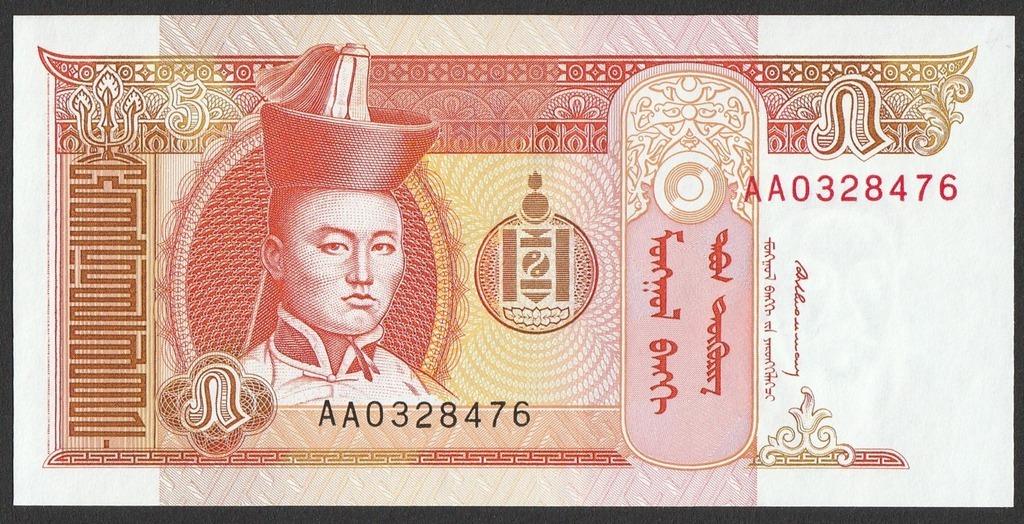 Mongolia - 5 tugrików - 1993 - AA03 - stan UNC