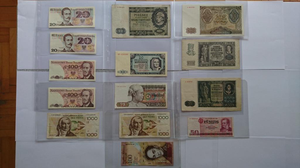 Набор из 14 банкнот в разных состояниях.