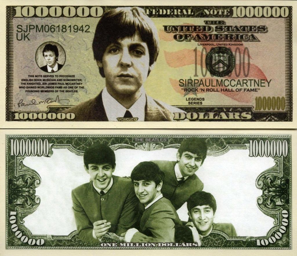 Paul Mccartney The Beatles milion dolarów banknot