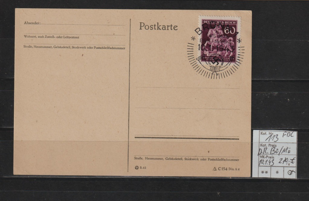 Niemcy D.Reich B+M Mi.Nr.113 na karta FDC spr.VOB