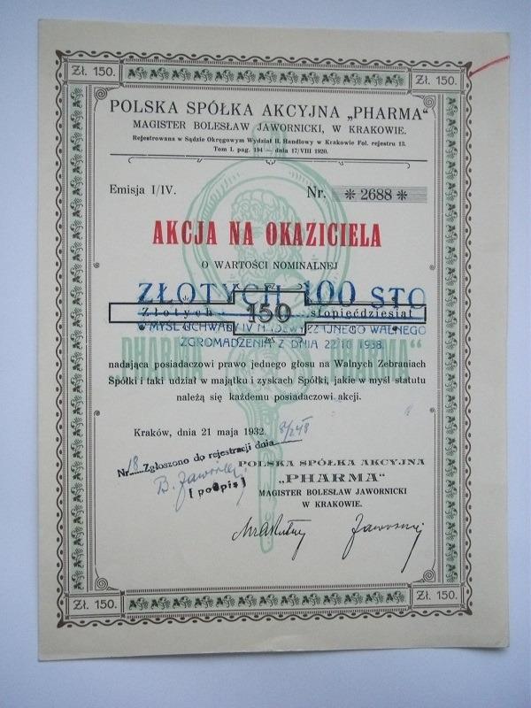 PHARMA - POLSKA SPKA AKCYJNA -1932 КРАКОВ