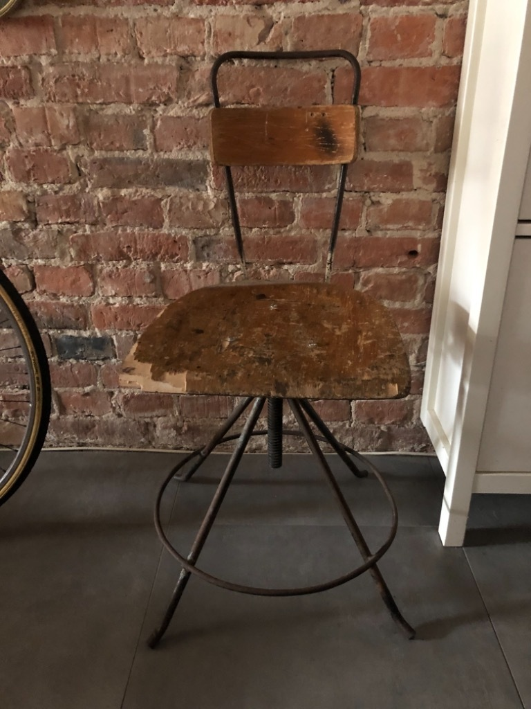 Вращающийся, стул для мастерской из ПНР, металл, дерево