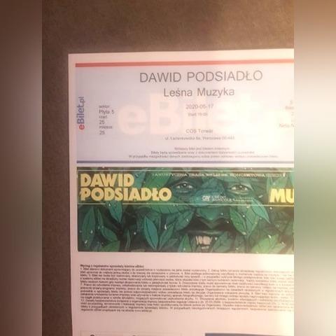 Bilet na koncert Dawida Podsiadło Torwar 17 05