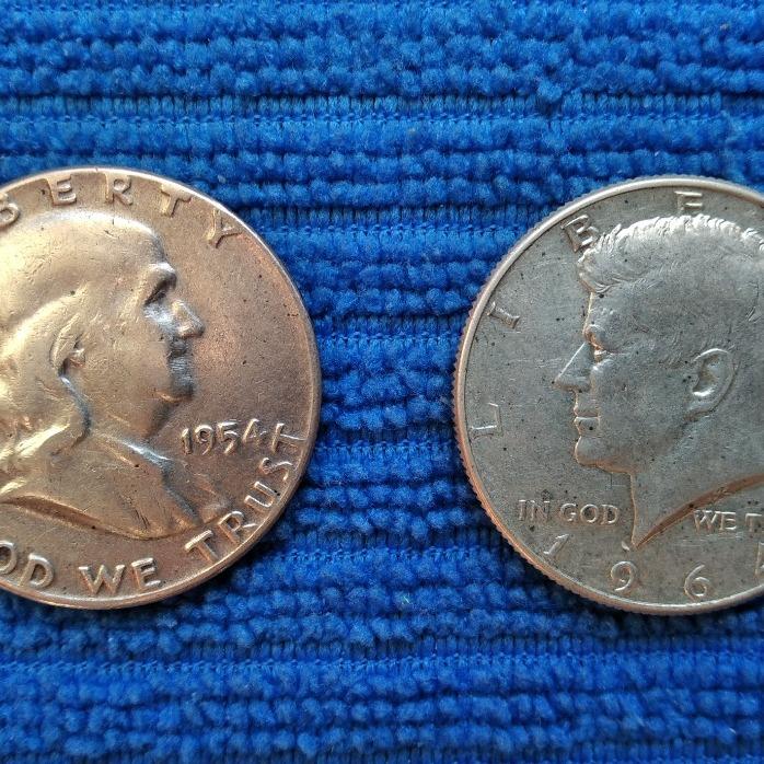 2szt.1/2 DOLLAR 1954 i 1964 r. srebro - oryginały