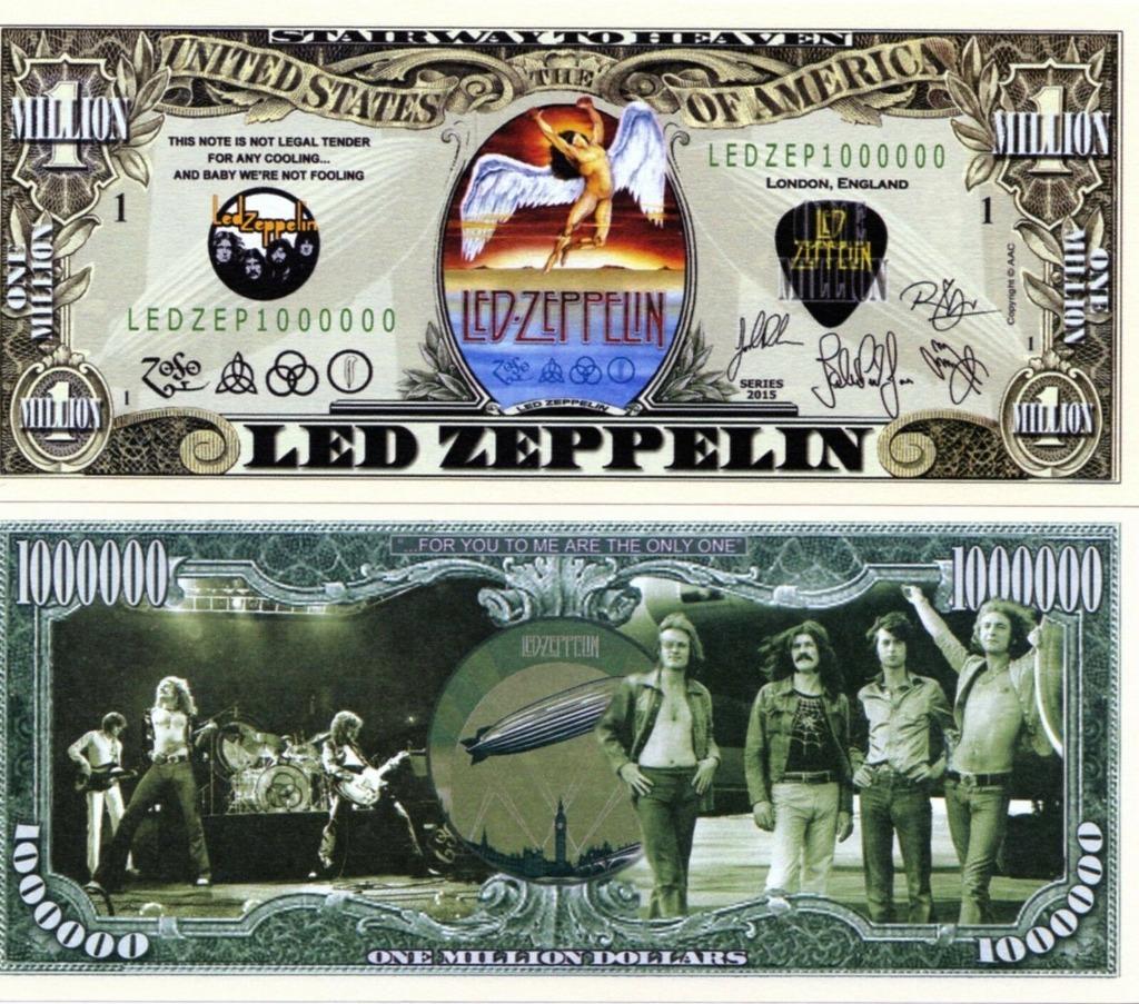 LED ZEPPELIN milion dolarów banknot
