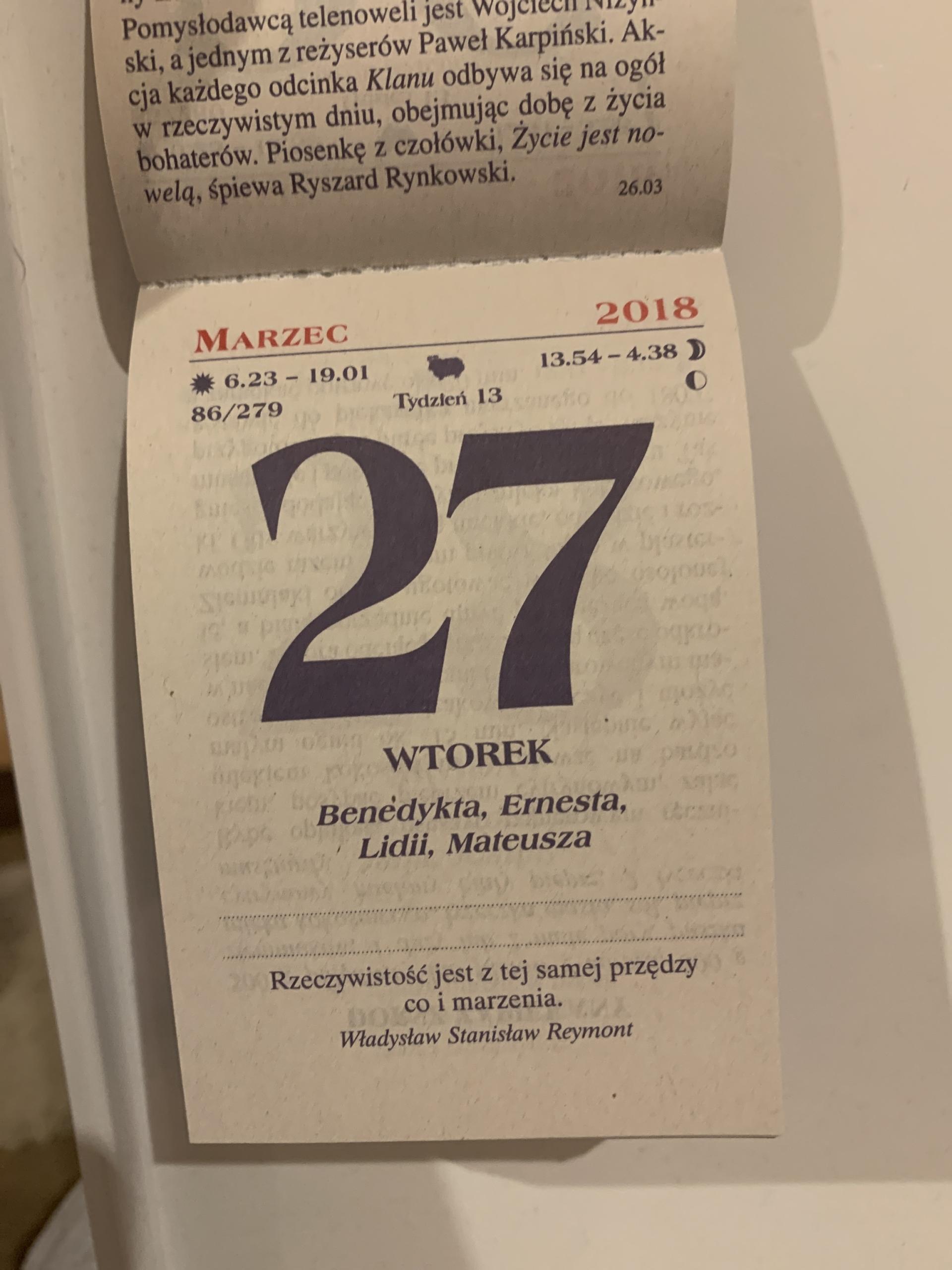 Kartka kalendarz zdzierak 2018, 2019, 2020, 2021