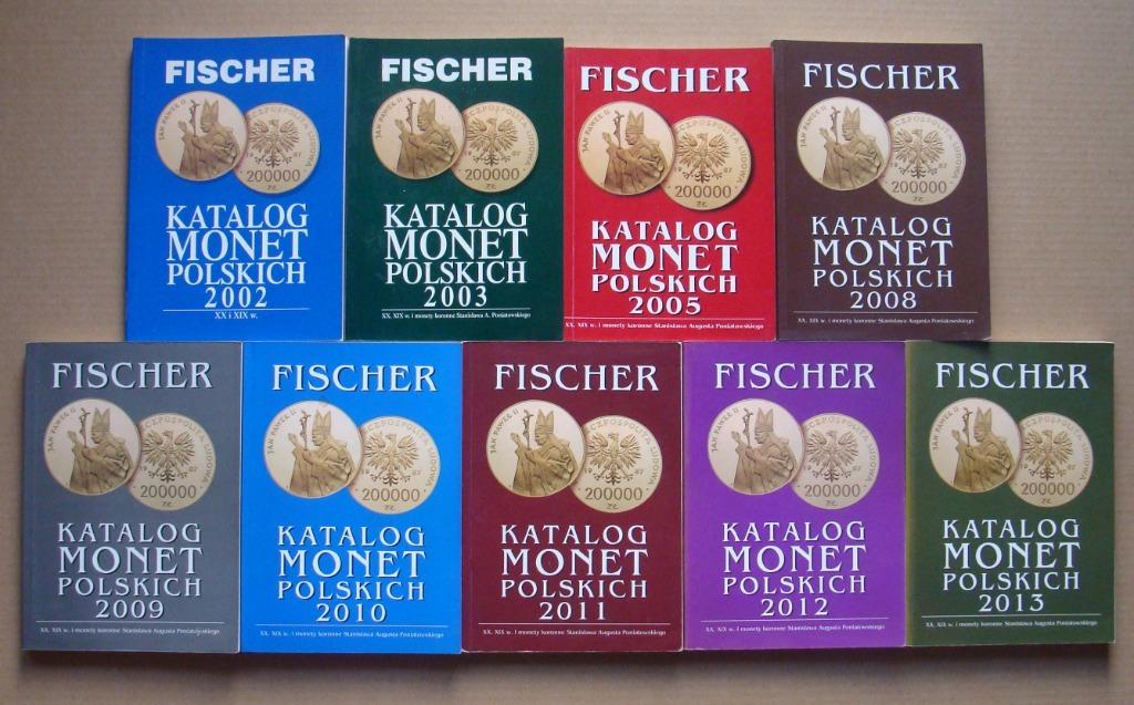 FISCHER - Katalogi monet 2002-2013 - 9 sztuk.