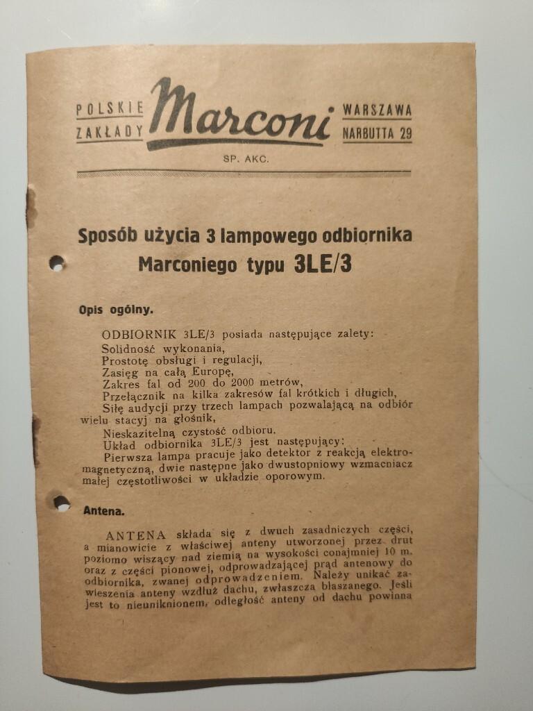 Marconi instrukcja 3 lampowy odbiornik typu 3LE/3