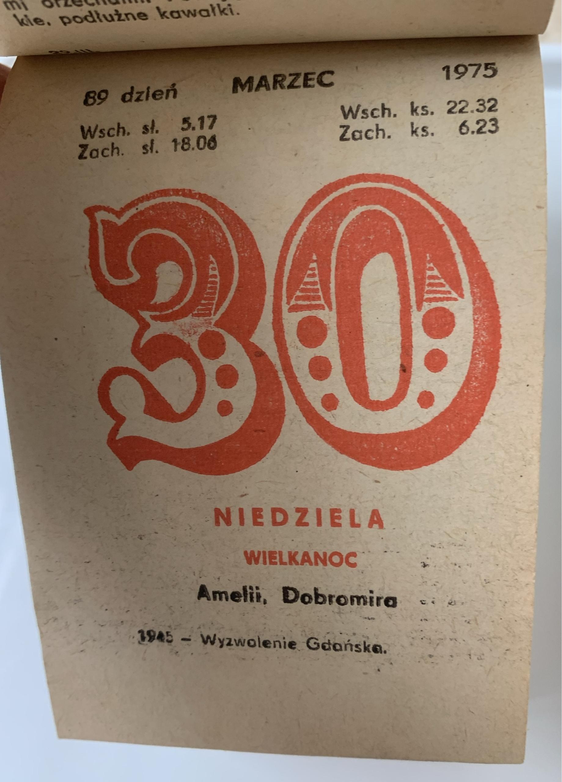 Kartka z kalendarza 1975 kalendarz 45 URODZINY