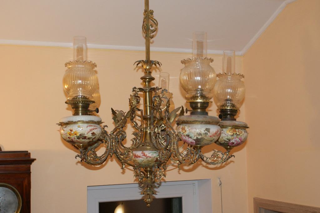 Lampa naftowa żyrandol pięcioramienny