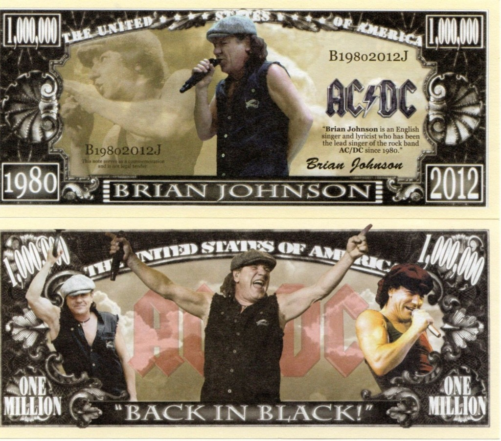 Brian Johnson AC/DC milion dolarów banknot