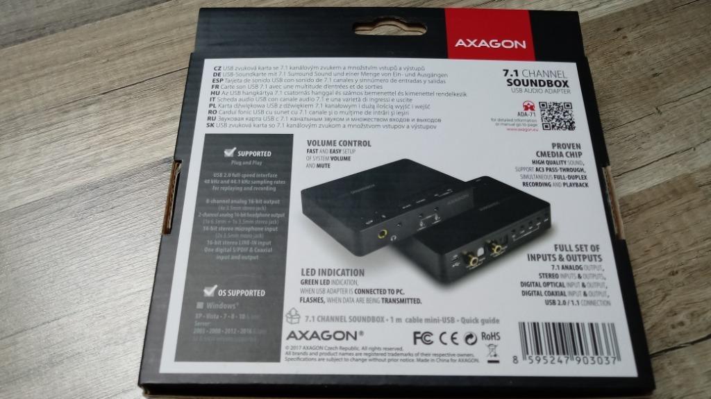 Купить Карта Axagon ADA-71 USB 7.1 SOUNDBOX на Otpravka - цены и фото - доставка из Польши и стран Европы в Украину.