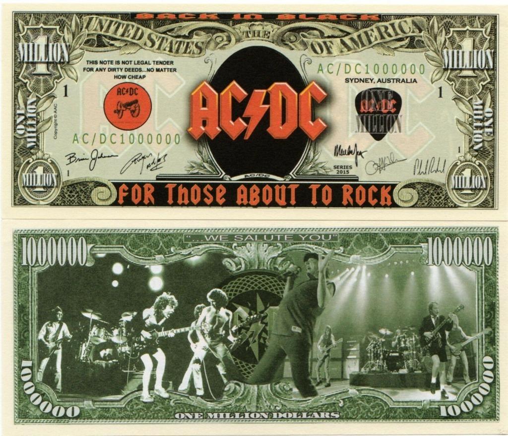 AC/DC milion dolarów banknot