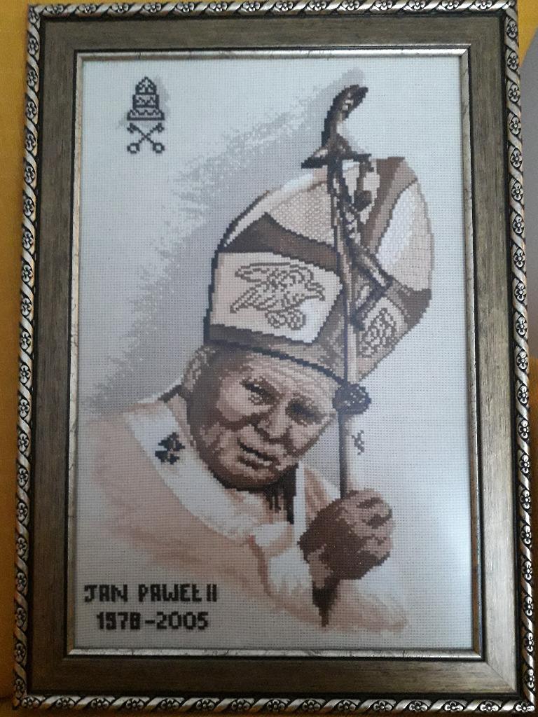 Papież Jan Paweł II - obraz haft krzyżykowy