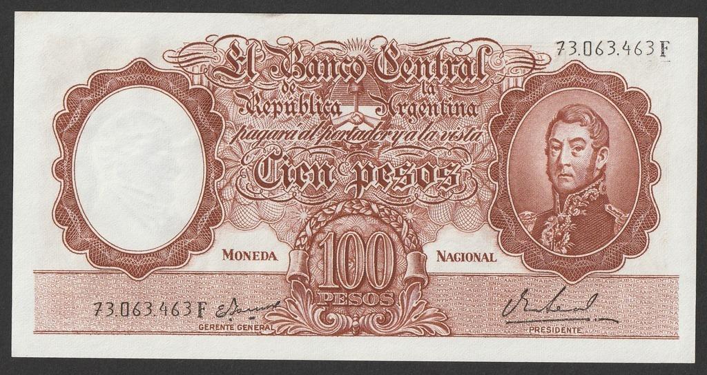 Argentyna 100 pesos 1967/69 - stan bankowy UNC