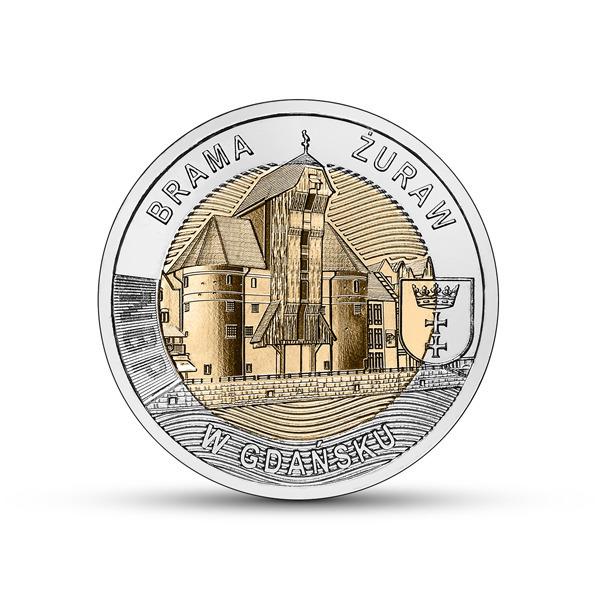 5 злотых 2021 Крановые ворота в Гданьске + папка