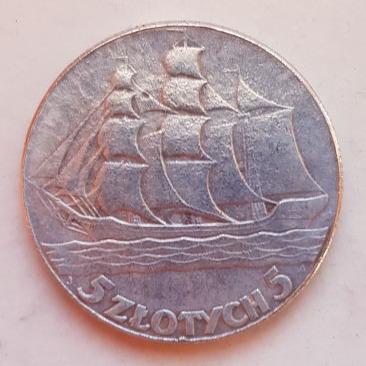 Stara Moneta Polska 5 złotych Żagłowiec 1936 r.