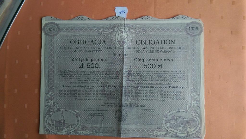 Купить Облигация в размере 500 злотых в рамках 6-го 6% -ного конверсионного займа ВМВ на Otpravka - цены и фото - доставка из Польши и стран Европы в Украину.