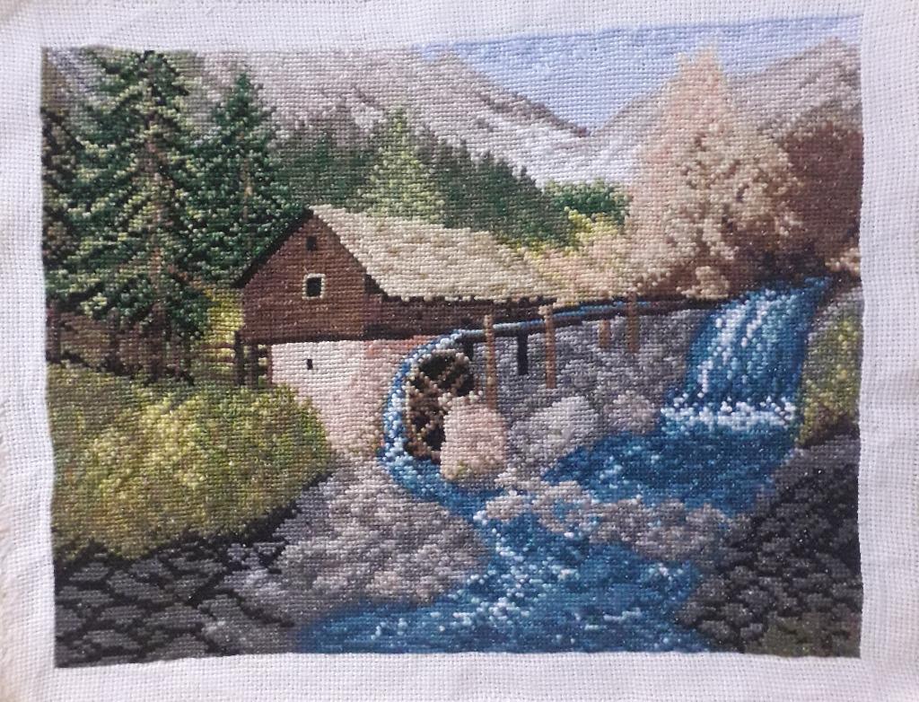 Młyn wodny - obraz haft krzyżykowy