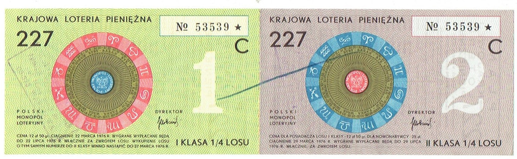 Los 227 Krajowa Loteria Pieniężna z 1976 roku