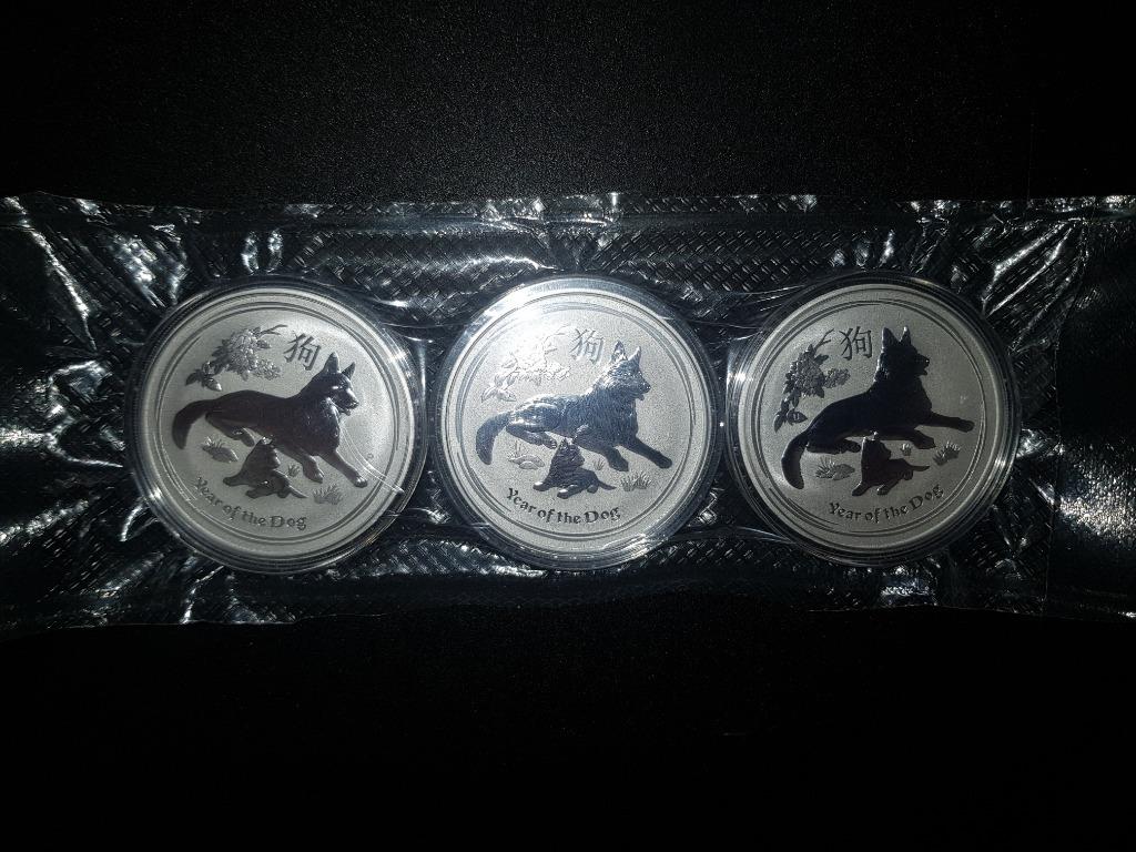 3 x uncja srebra Lunar II - Rok Psa z 2018 roku