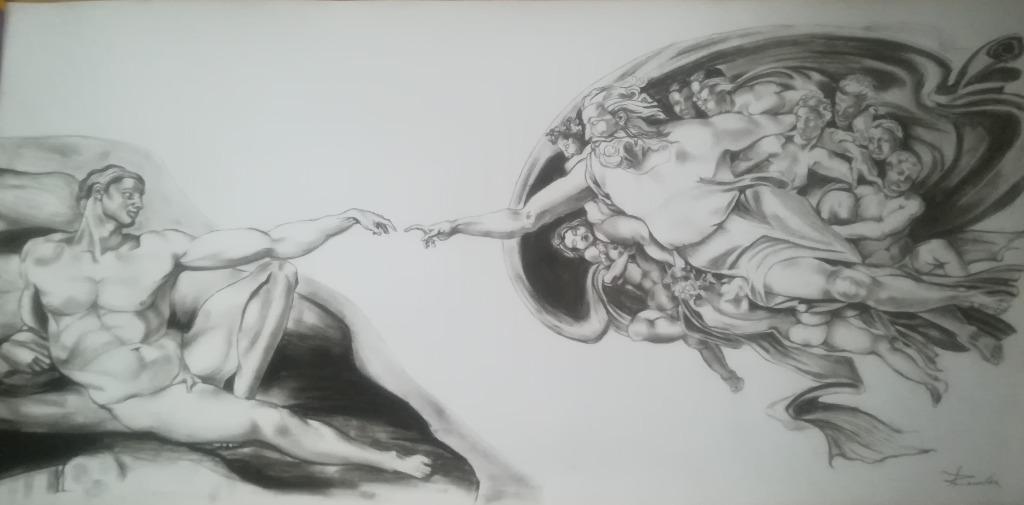 Rysunek węglem Adam i Bóg