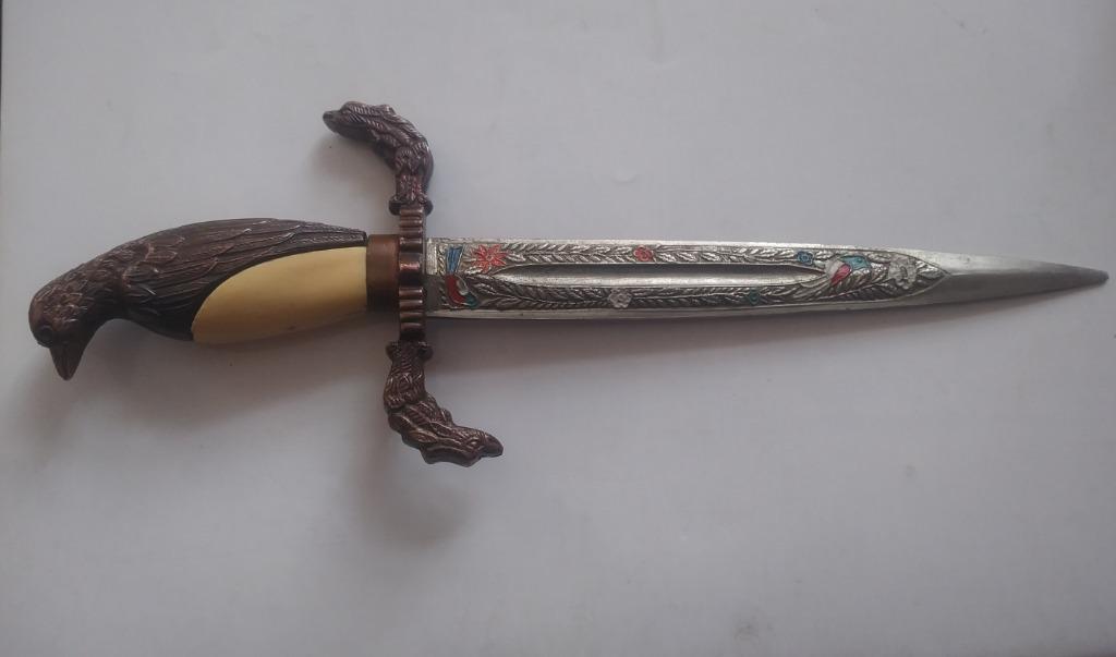Stary nóż myśliwski / solidny / piękne zdobienia