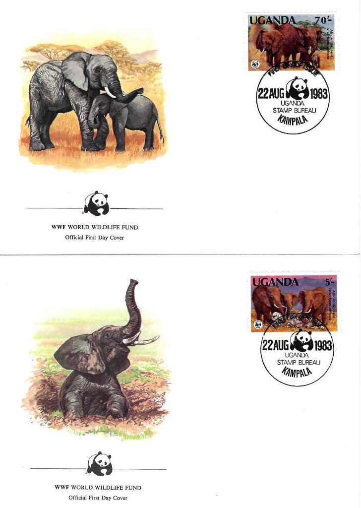 Zestaw 4 kopert WWF Słonie Uganda nr 79