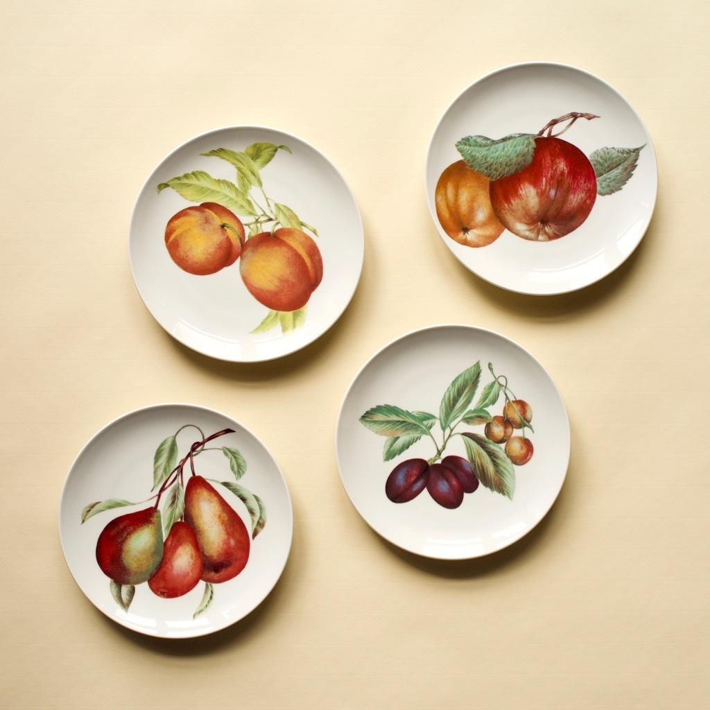 Pillivuyt France фарфоровые тарелки, фрукты, ретро