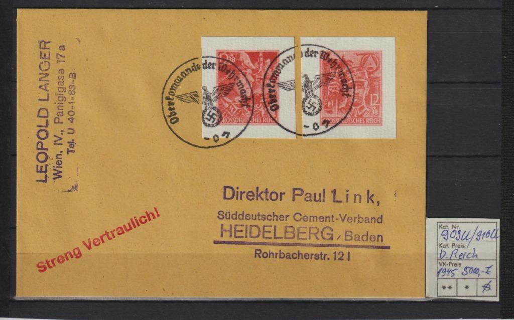 Niemcy D.Reich Mi.Nr. 909u-910u na List spraw.BPP