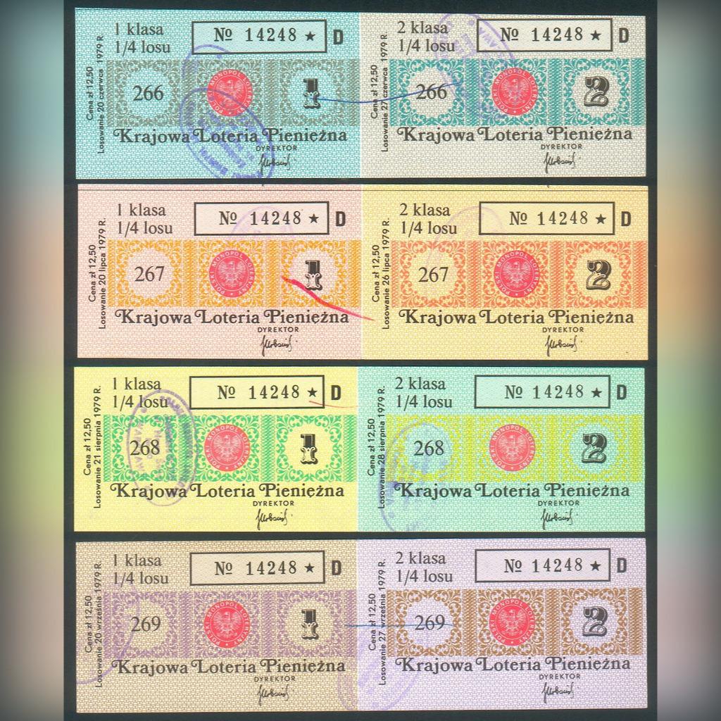 8 Losów nr 266-269 Krajowa Loteria Pien. 1979 rok