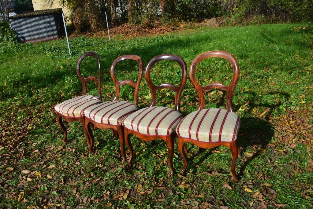 Krzesła tapicerowane 4 szt. Ludwik Filip, ANTYK