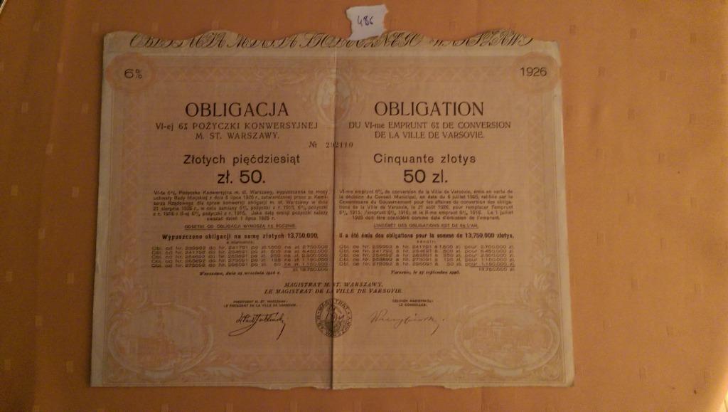 Купить Облигация 50 злотых 6-го 6% конверсионного займа на Западе на Otpravka - цены и фото - доставка из Польши и стран Европы в Украину.