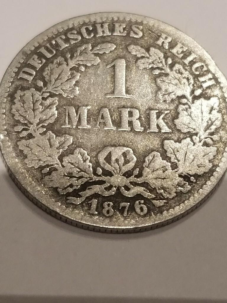 1 marka 1876 srebrna moneta .