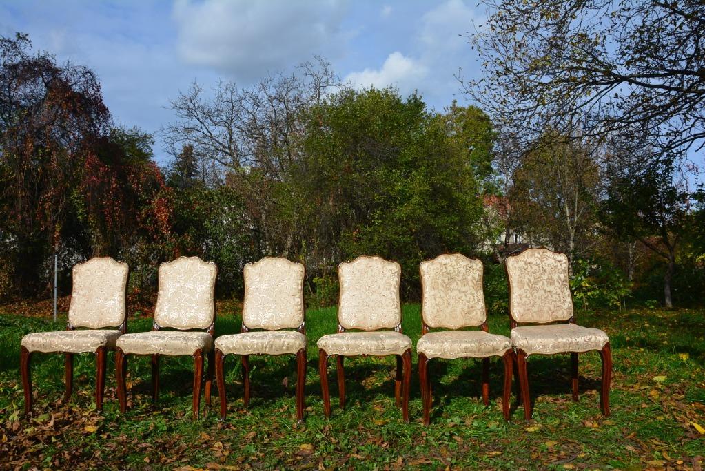 Krzesła tapicerowane 6 szt na giętych nogach ANTYK