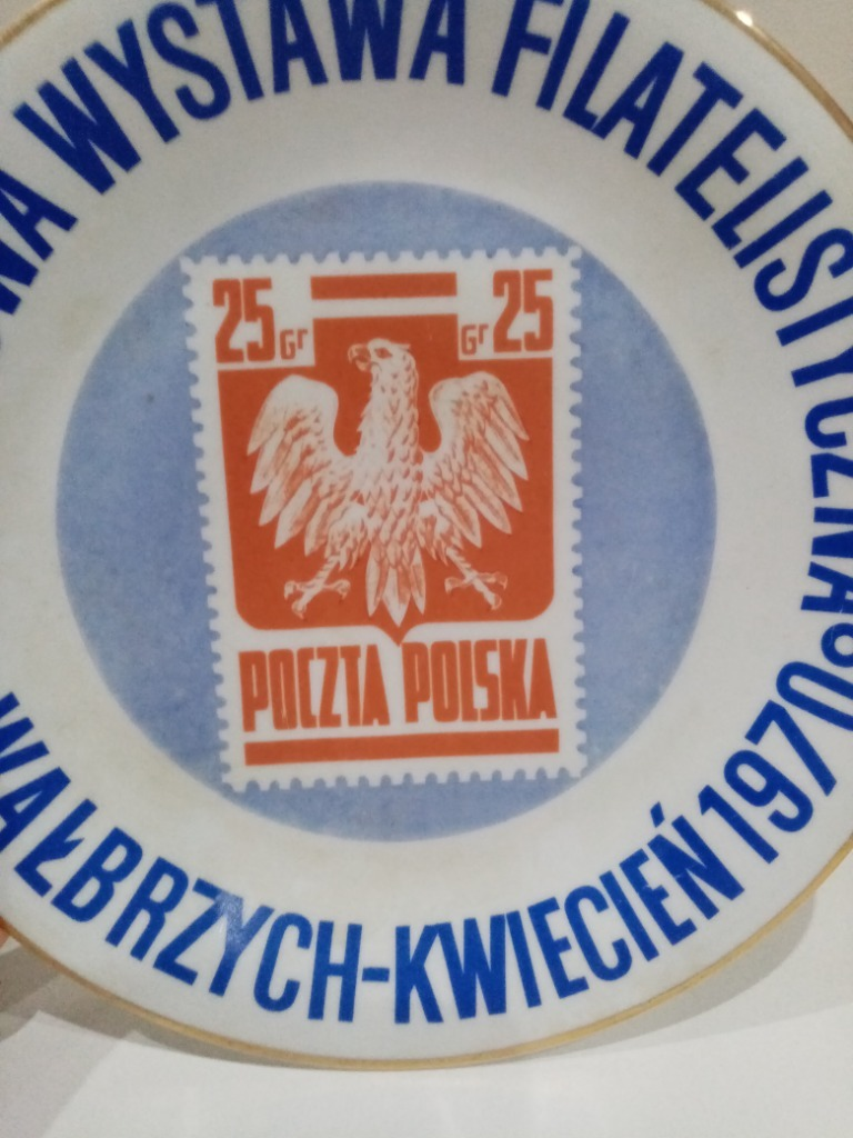 Talerz wystawa Filatelistyczna 1970 znaczki