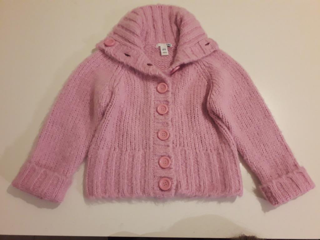 Sweterek H&M różowy puszysty  roz. 128 st. b.dobry
